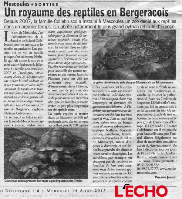 L'Echo régional du 14 août 2013
